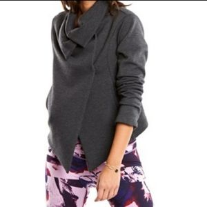 Lucy Charcoal Gray High Neck Asymmetric Jacket